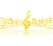 Music Key And Elements Gold Color Stock Image