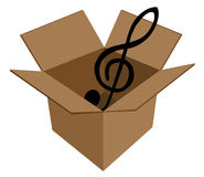 Music key in cardboard box Royalty Free Stock Photo