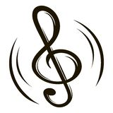 Music key icon cartoon. Music key icon in cartoon style isolated vector illustration Royalty Free Stock Photography
