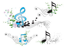 Music key notes and clef Stock Photography