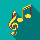 Music key and notes icon, flat style Stock Photo