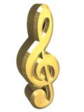 Music key symbol in gold - 3D Royalty Free Stock Images