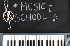 Music keyboard on blackboard background for music school childre. N with copy space stock photo