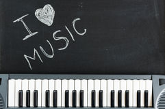 Music keyboard on blackboard background for passion and love for. Music with copy space royalty free stock photography