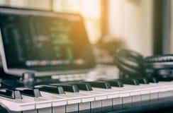 Music Keyboard in computer music studio Royalty Free Stock Image