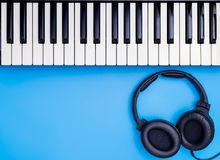 Music Keyboard and headphone for Music Lesson, Music Studio concept Stock Photo