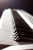 Music keyboard instruments. Black and white Royalty Free Stock Photo
