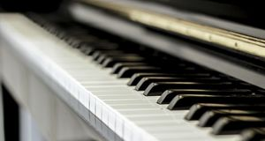 Music keyboard piano. In home royalty free stock images