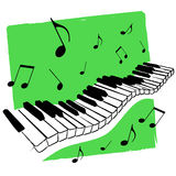 Music keyboard vector. Illustration of a piano keyboard and musical notes floating on green background + vector eps file Stock Images