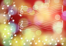 Music Keys Floating Blurred Background. Floating musical keys background wallpaper. There are yellow and red blurred lights on the background Royalty Free Stock Photos