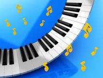 Music keys and notes. Music keys and golden notes over blue background Royalty Free Stock Photography