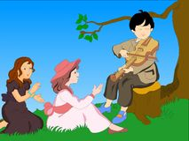 Music kids. Illustration of a boy play violin and young girl singing Royalty Free Stock Photo