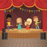 Music kids band on concert scene. Music concert with musician cartoon, young artist with instrument. Vector illustration stock illustration