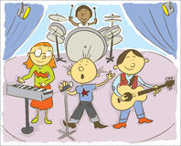 Music kids. Child's hand drawing vector illustration on happy child playing music.Additional format vector format EPS8 Royalty Free Stock Photos