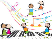Music kids. Happy children playing music on white background vector illustration