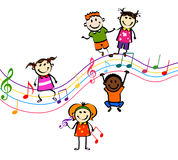 Music kids. Happy kids playing music on white background vector illustration