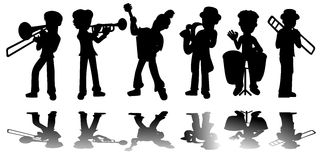 Music kids silhouettes collection stock image