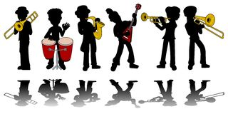 Music kids silhouettes collection royalty free stock images