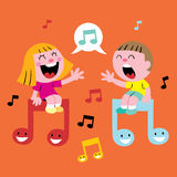 Music kids singing. Little girl and boy singing music illustration Stock Photos
