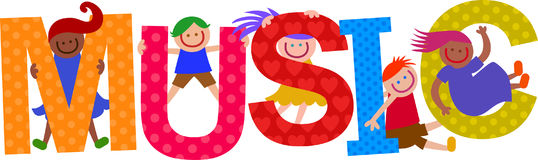 Music Kids Text Title. Happy cartoon smiling children climbing over letters of the alphabet that spell out the word MUSIC royalty free illustration