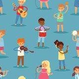 Music kids vector cartoon characters set of children singing or playing musical instruments guitar, violin and flute in. Childhood kiddy illustration seamless vector illustration
