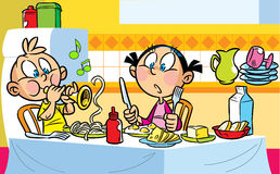 Music in the kitchen. The illustration shows children who eat at the table. The boy indulges, he portrays the taming of snakes and playing musical pipes Stock Photography