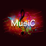 Music label on a black background Stock Photography