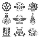 Music labels. Microphone big speaker drums and headphones vector pictures and logos for music records studio vector illustration