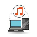 Music laptop data server Stock Images