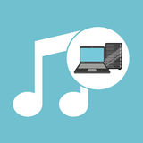 Music laptop data server Royalty Free Stock Photos