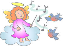 Music Lesson Angel/eps. Illustration of a little girl angel teaching birds to sing...eps file available...three matching angel children in my portfolio Stock Photo