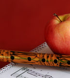 Music lessons with bamboo flute Stock Image