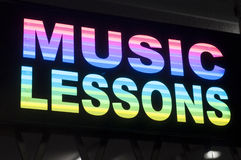 Music lessons sign Stock Photography