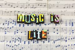Music life stop listen earth world believe voice typography font stock photography