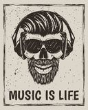 Music is life vector grunge design with hipster skull Royalty Free Stock Images