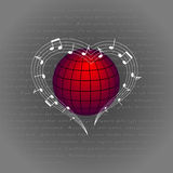 Music like heart around the world. Love melody around the planet vector illustration