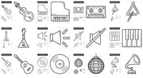 Music line icon set. Royalty Free Stock Photo