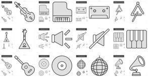 Music line icon set. Stock Photos