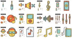 Music line icon set. Stock Image