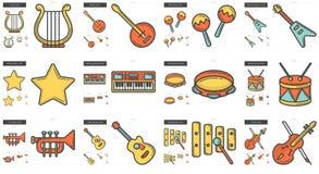 Music line icon set. Royalty Free Stock Photos