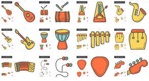 Music line icon set. Royalty Free Stock Images