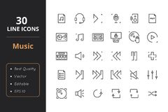 30 Music Line Icons. High quality music line icons. Icons for user interfaces and web Royalty Free Stock Photography
