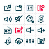 Music line icons. Vector minimalistic line music and audio icons set Royalty Free Illustration