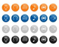 Music line vector icons set Royalty Free Stock Images