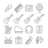 Music line vector icons set Stock Photos