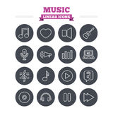 Music linear icons set. Thin outline signs. Vector Stock Photo