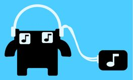 Music Box Listener Cartoon Royalty Free Stock Photography