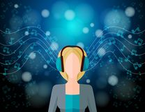Music Listening Concept. With young woman in headphones and musical notes on blur background vector illustration Royalty Free Stock Image