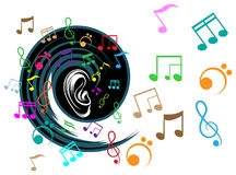 Music listening. Line art colorful design Royalty Free Stock Photography
