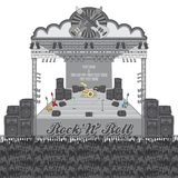 Music live stage concert. Art illustration Royalty Free Stock Image